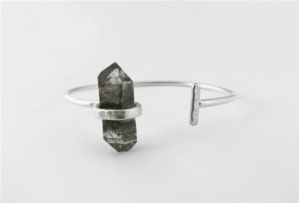 Sterling silver bracelet with Tibetan Quartz raw crystal