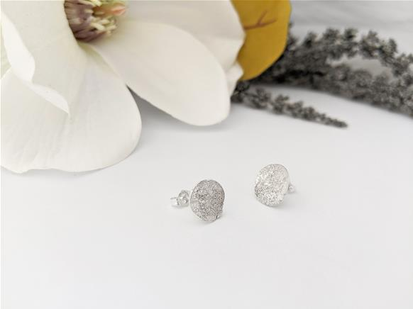 Star Dust Round Dome Stud Earrings in sterling silver
