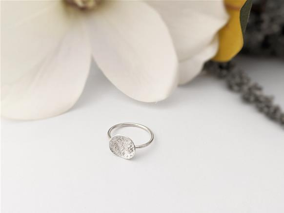 Minimalist Stacking Star Dust Dome Ring in Sterling Silver