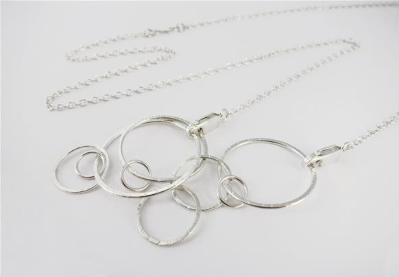 Convertible chain necklace with circle pendant in sterling silver