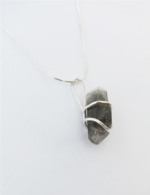 Sterling silver pendant with Tibetan Quartz raw crystal