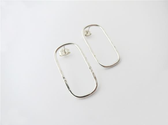 Hammered oval stud earrings in sterling silver