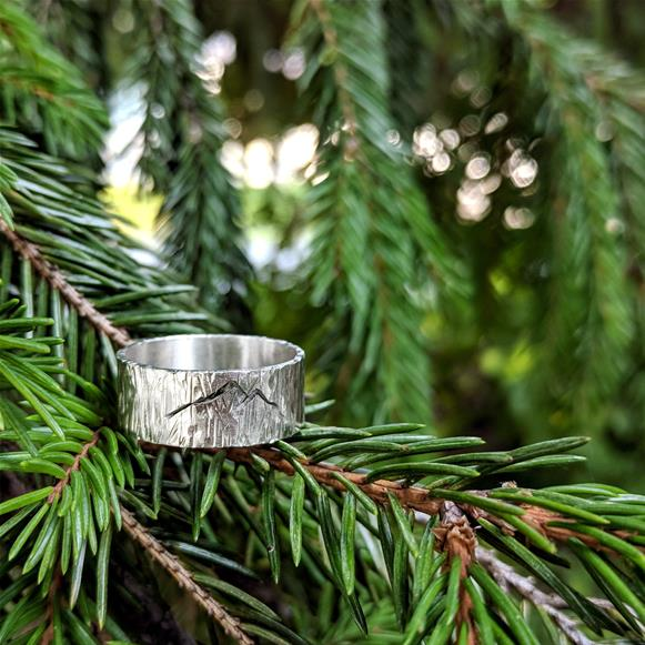 Tree bark ring with mountains in sterling silver
