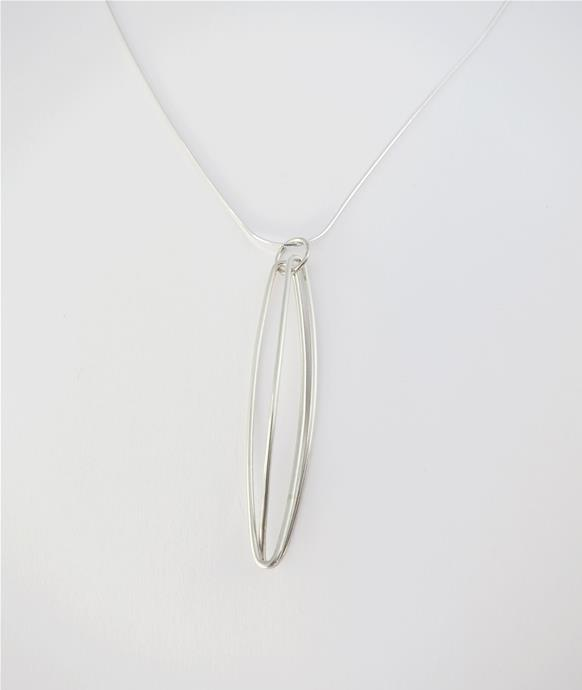 Sterling silver long oval pendant